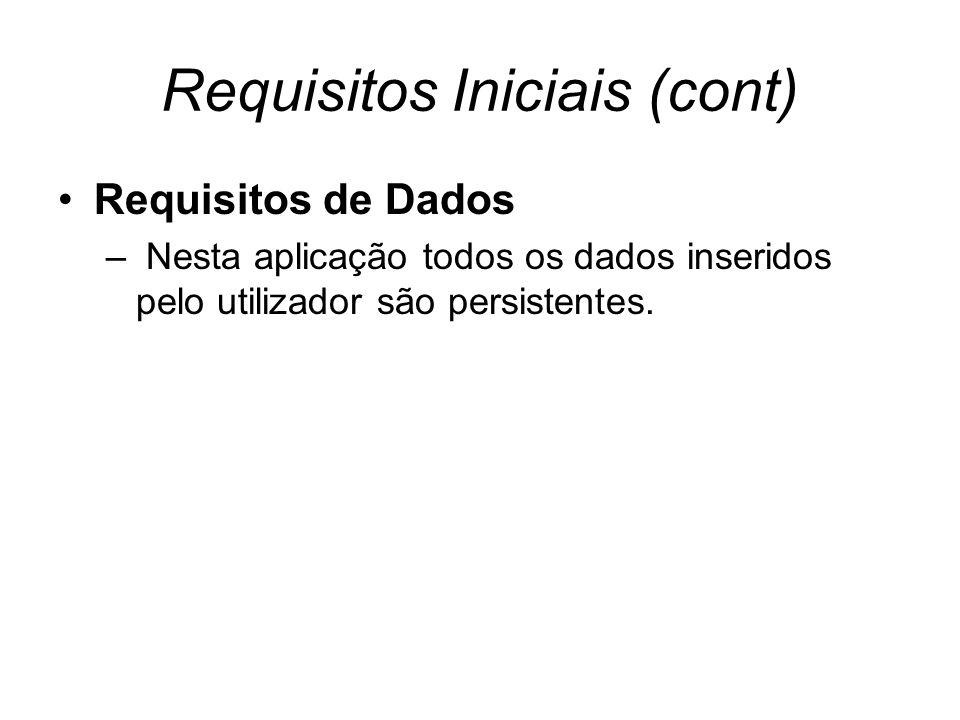 Requisitos Iniciais (cont) Requisitos de Dados – Nesta aplicação todos os dados inseridos pelo utilizador são persistentes.
