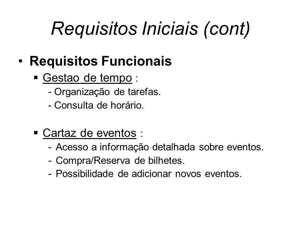 Requisitos Iniciais (cont) Requisitos Funcionais Gestao de tempo : - Organização de tarefas.