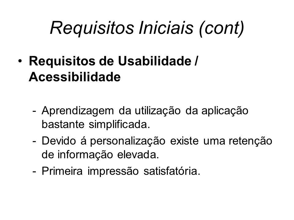 Requisitos Iniciais (cont) Requisitos de Usabilidade / Acessibilidade -Aprendizagem da utilização da aplicação bastante simplificada.