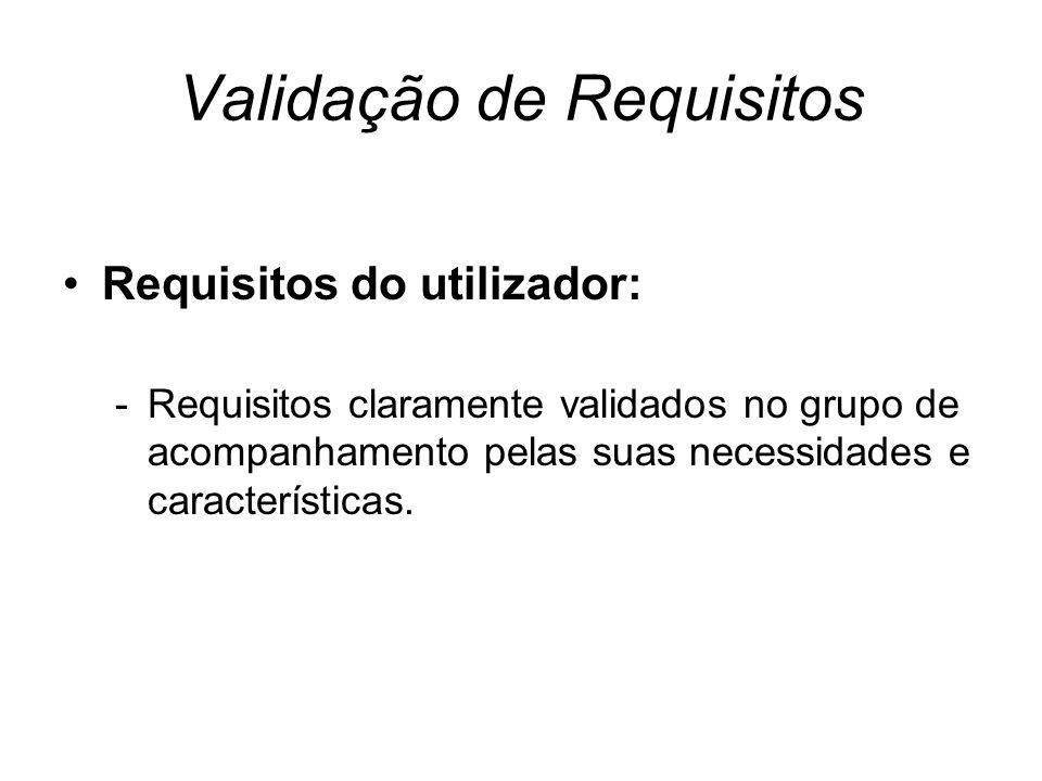Validação de Requisitos Requisitos do utilizador: -Requisitos claramente validados no grupo de acompanhamento pelas suas necessidades e características.
