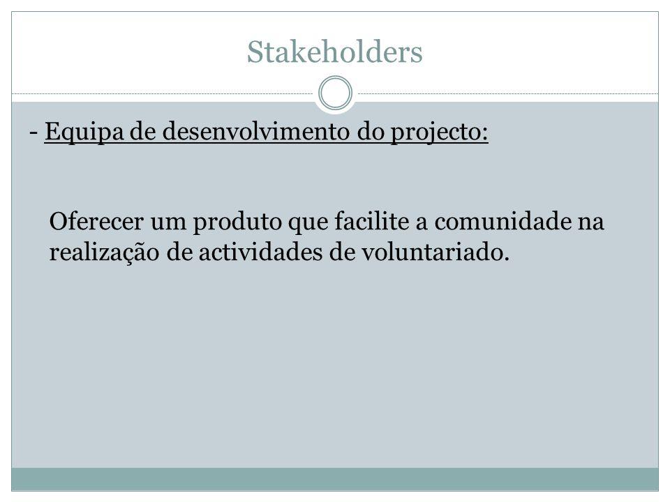 Stakeholders - Equipa de desenvolvimento do projecto: Oferecer um produto que facilite a comunidade na realização de actividades de voluntariado.