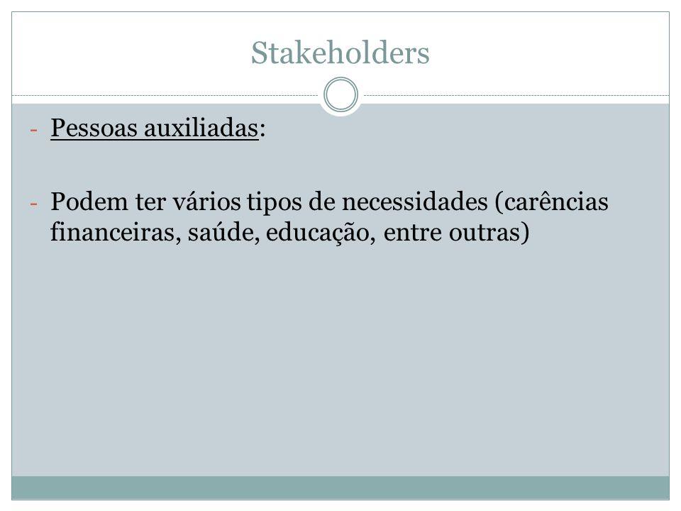 Stakeholders - Pessoas auxiliadas: - Podem ter vários tipos de necessidades (carências financeiras, saúde, educação, entre outras)