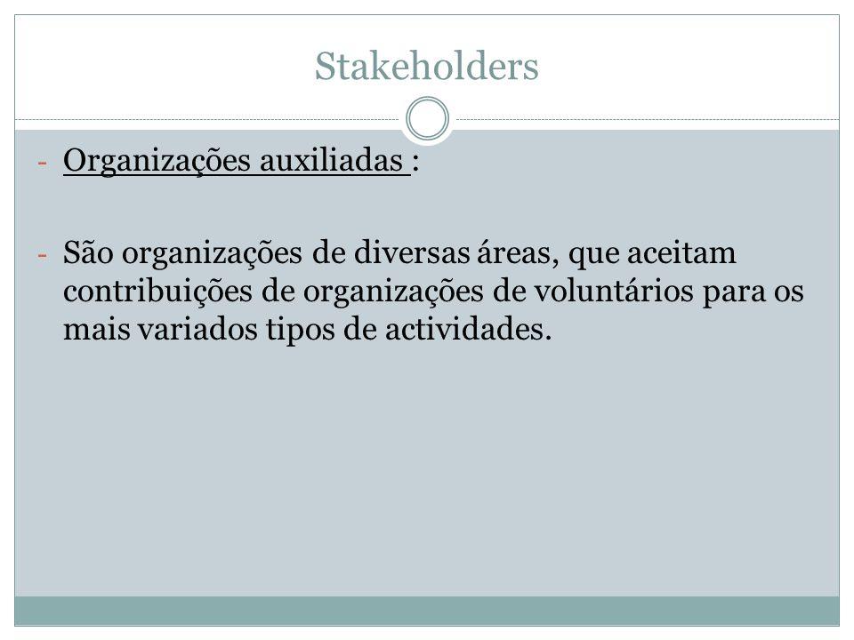 Stakeholders - Organizações auxiliadas : - São organizações de diversas áreas, que aceitam contribuições de organizações de voluntários para os mais variados tipos de actividades.