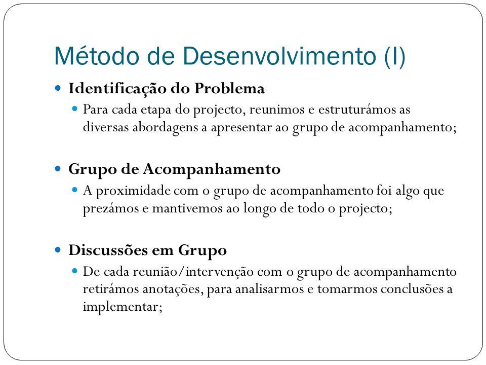 Método de Desenvolvimento (II) Planeamento das Opções Foi necessário fazermos uma selecção criteriosa das opções a implementar e estruturar as soluções para as mesmas; Implementação Na implementação valorizamos a interajuda e a divisão de tarefas; Feedback Para cada etapa procurámos sempre validar as nossas implementações com o máximo de elementos do grupo de acompanhamento;