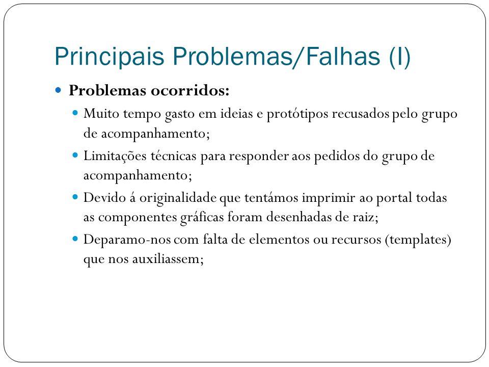 Principais Problemas/Falhas (I) Problemas ocorridos: Muito tempo gasto em ideias e protótipos recusados pelo grupo de acompanhamento; Limitações técni