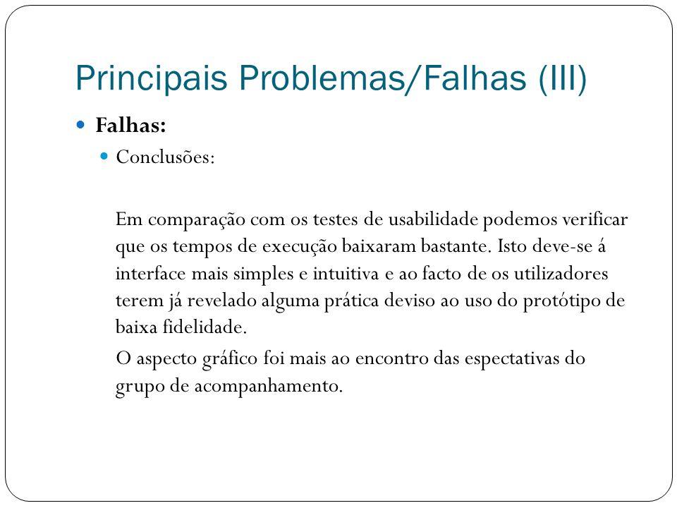 Principais Problemas/Falhas (III) Falhas: Conclusões: Em comparação com os testes de usabilidade podemos verificar que os tempos de execução baixaram