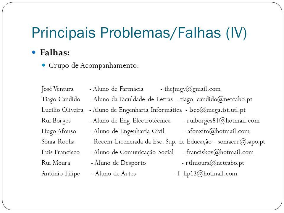 Principais Problemas/Falhas (IV) Falhas : Grupo de Acompanhamento: José Ventura - Aluno de Farmácia - thejmgv@gmail.com Tiago Candido - Aluno da Facul