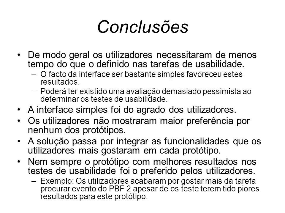 Conclusões De modo geral os utilizadores necessitaram de menos tempo do que o definido nas tarefas de usabilidade.