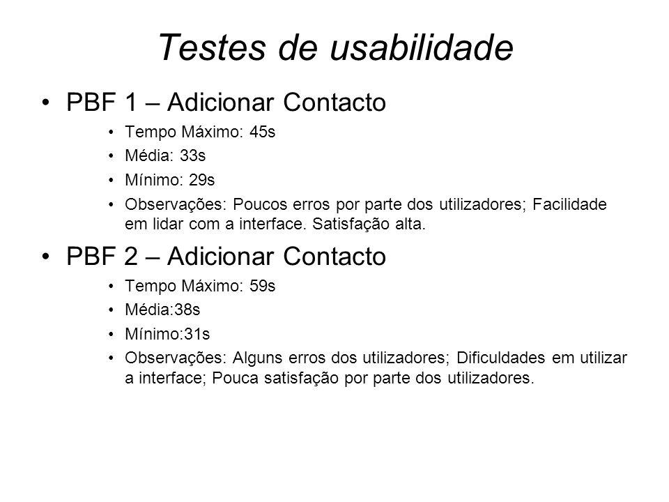 Testes de usabilidade PBF 1 – Adicionar Contacto Tempo Máximo: 45s Média: 33s Mínimo: 29s Observações: Poucos erros por parte dos utilizadores; Facilidade em lidar com a interface.