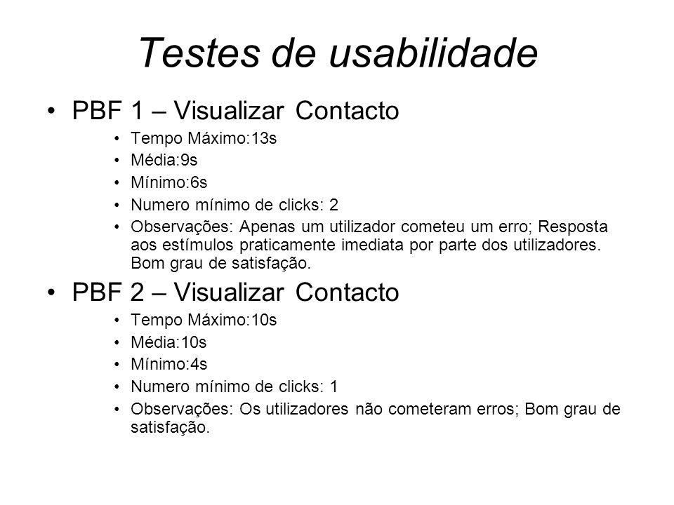 Testes de usabilidade PBF 1 – Visualizar Contacto Tempo Máximo:13s Média:9s Mínimo:6s Numero mínimo de clicks: 2 Observações: Apenas um utilizador cometeu um erro; Resposta aos estímulos praticamente imediata por parte dos utilizadores.