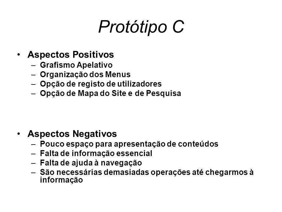 Protótipo C Aspectos Positivos –Grafismo Apelativo –Organização dos Menus –Opção de registo de utilizadores –Opção de Mapa do Site e de Pesquisa Aspec