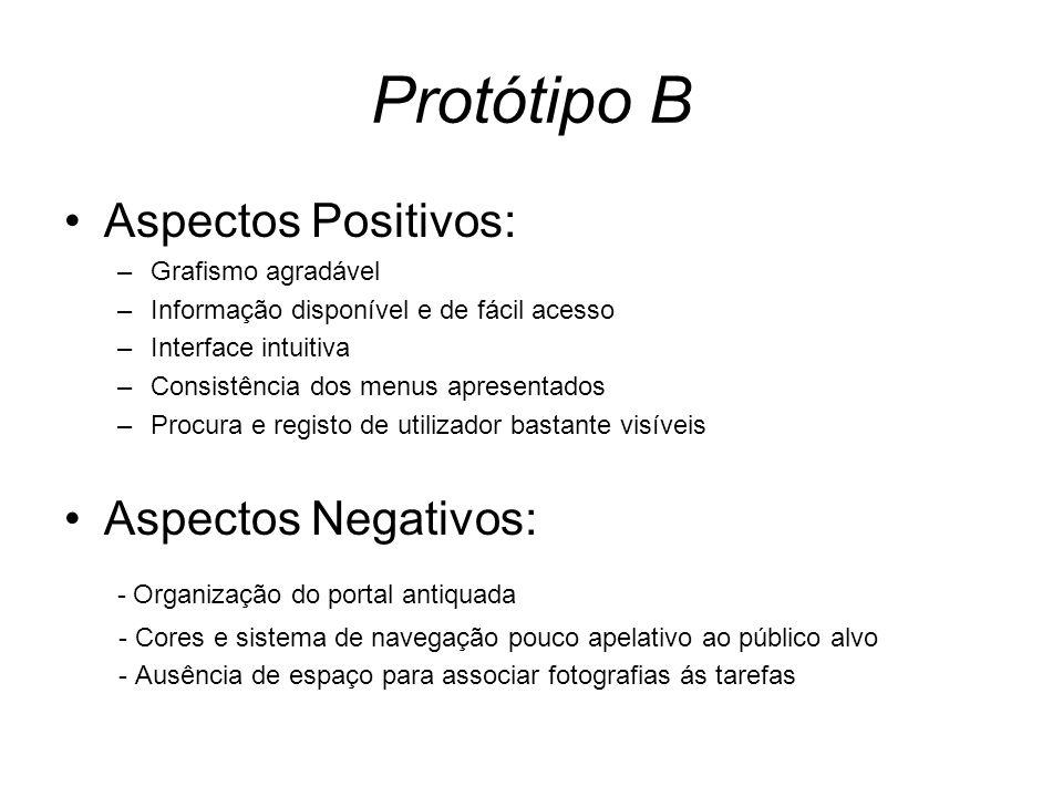 Protótipo B Aspectos Positivos: –Grafismo agradável –Informação disponível e de fácil acesso –Interface intuitiva –Consistência dos menus apresentados