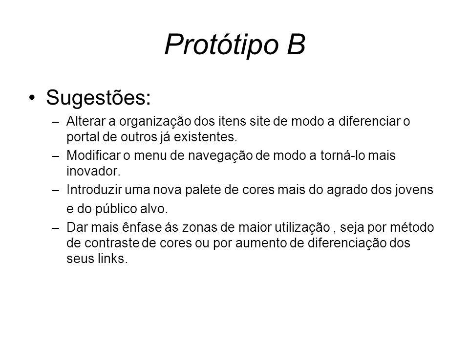 Protótipo B Sugestões: –Alterar a organização dos itens site de modo a diferenciar o portal de outros já existentes. –Modificar o menu de navegação de