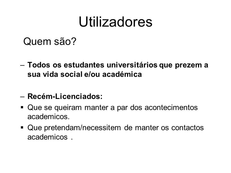 Utilizadores –Todos os estudantes universitários que prezem a sua vida social e/ou académica –Recém-Licenciados: Que se queiram manter a par dos acontecimentos academicos.