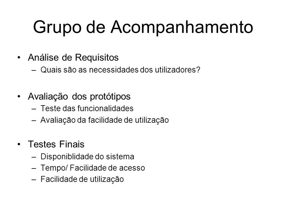 Grupo de Acompanhamento Análise de Requisitos –Quais são as necessidades dos utilizadores.