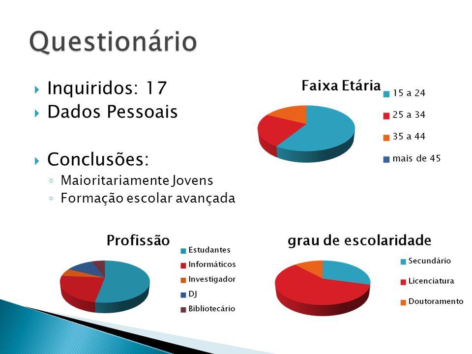 Inquiridos: 17 Dados Pessoais Conclusões: Maioritariamente Jovens Formação escolar avançada