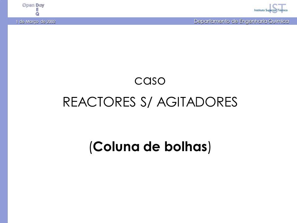 1 de Março de 2002 Departamento de Engenharia Química caso REACTORES S/ AGITADORES ( Coluna de bolhas )