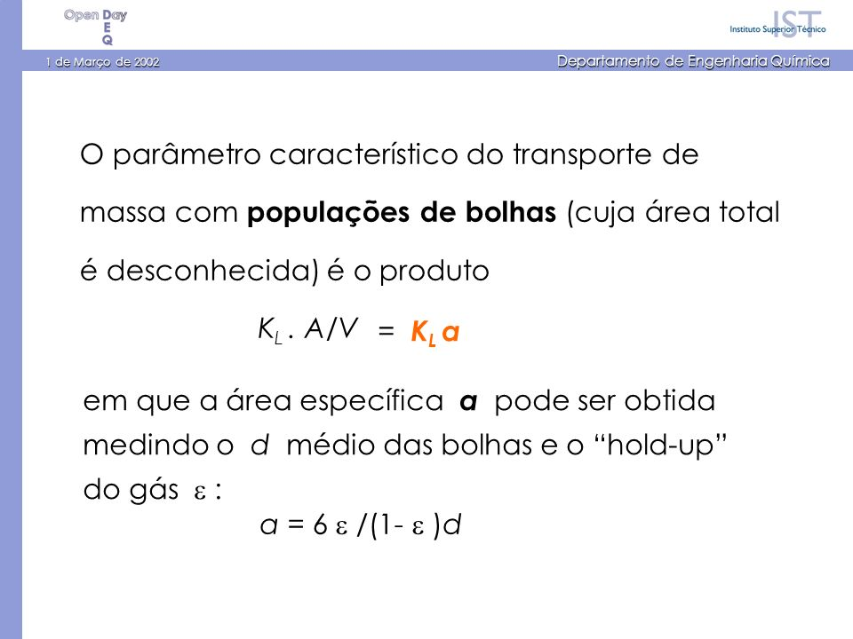 1 de Março de 2002 Departamento de Engenharia Química O parâmetro característico do transporte de massa com populações de bolhas (cuja área total é desconhecida) é o produto K L.