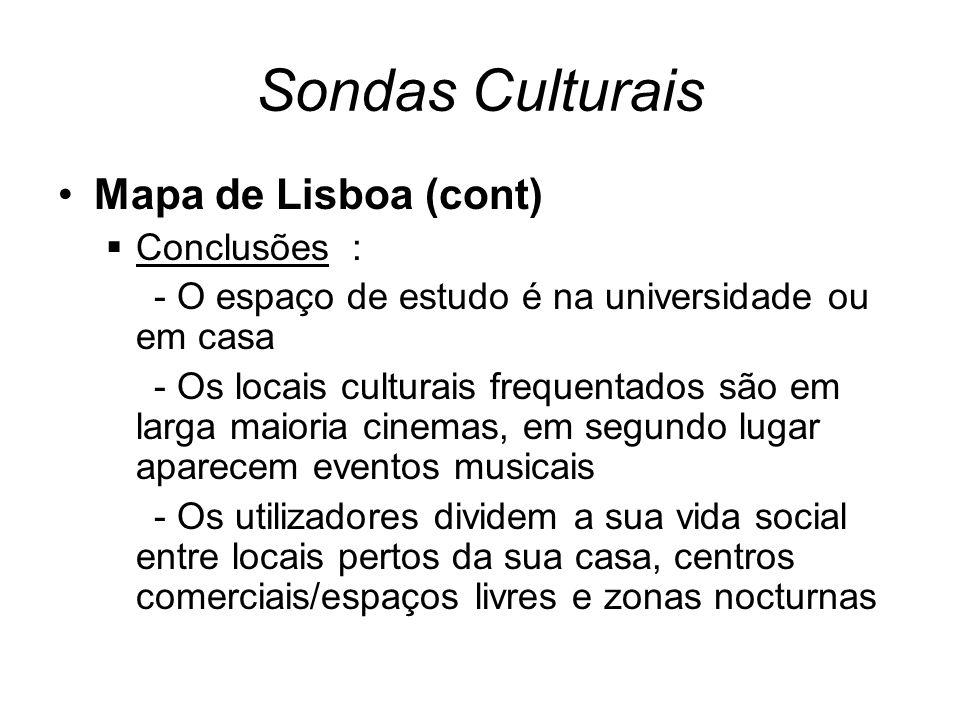 Sondas Culturais Mapa de Lisboa (cont) Conclusões : - O espaço de estudo é na universidade ou em casa - Os locais culturais frequentados são em larga