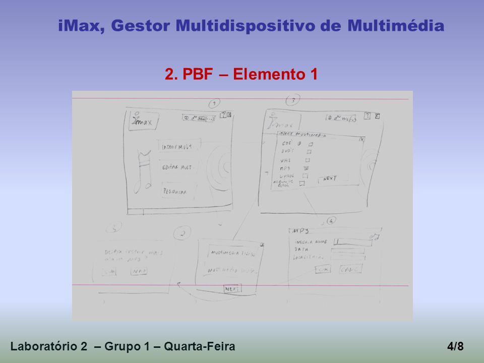 Laboratório 2 – Grupo 1 – Quarta-Feira4/8 iMax, Gestor Multidispositivo de Multimédia 2. PBF – Elemento 1