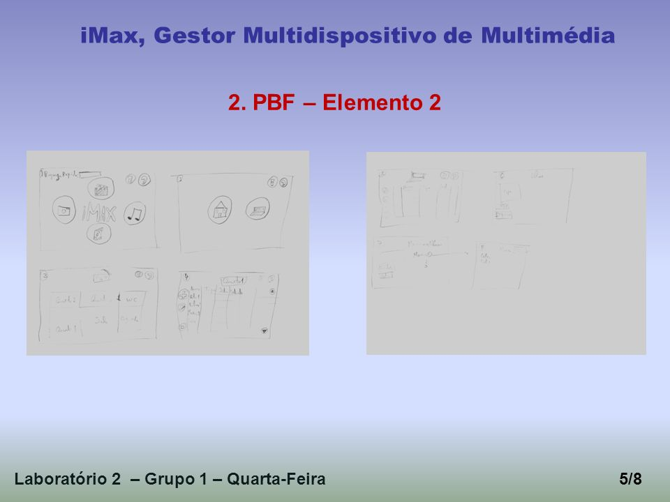 Laboratório 2 – Grupo 1 – Quarta-Feira5/8 iMax, Gestor Multidispositivo de Multimédia 2. PBF – Elemento 2