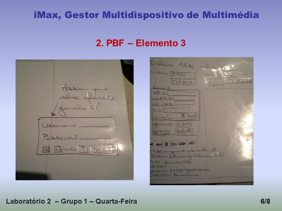 Laboratório 2 – Grupo 1 – Quarta-Feira6/8 iMax, Gestor Multidispositivo de Multimédia 2. PBF – Elemento 3