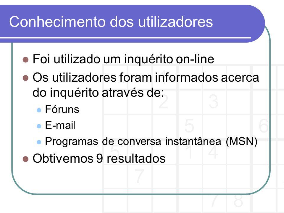 O Inquérito Está dividido em três partes: Conhecimento do utilizador Tarefas que os utilizadores gostariam que fossem implementadas Retenção do contacto de utilizador, caso esteja interessado em pertencer ao grupo de acompanhamento