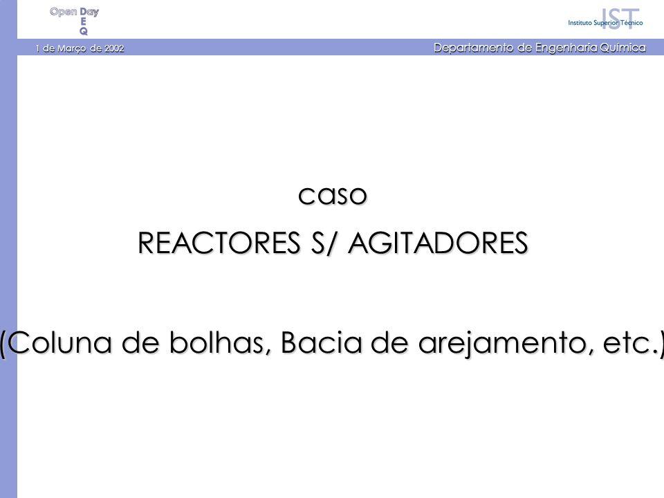 1 de Março de 2002 Departamento de Engenharia Química caso REACTORES S/ AGITADORES (Coluna de bolhas, Bacia de arejamento, etc.)