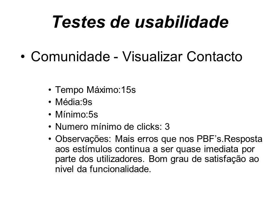 Testes de usabilidade Comunidade - Visualizar Contacto Tempo Máximo:15s Média:9s Mínimo:5s Numero mínimo de clicks: 3 Observações: Mais erros que nos PBFs.Resposta aos estímulos continua a ser quase imediata por parte dos utilizadores.