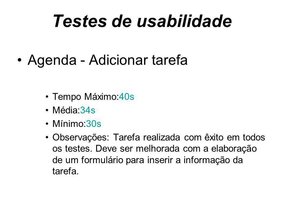 Testes de usabilidade Agenda - Adicionar tarefa Tempo Máximo:40s Média:34s Mínimo:30s Observações: Tarefa realizada com êxito em todos os testes.