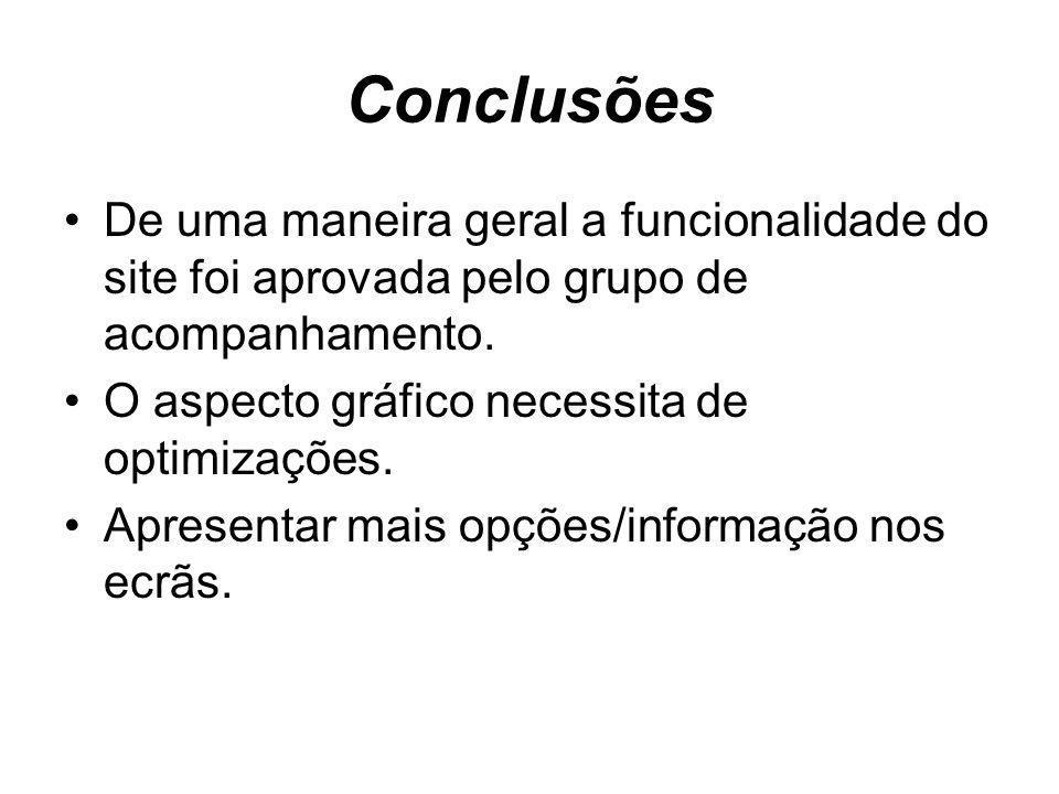 Conclusões De uma maneira geral a funcionalidade do site foi aprovada pelo grupo de acompanhamento.