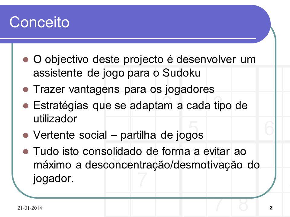 Conceito O objectivo deste projecto é desenvolver um assistente de jogo para o Sudoku Trazer vantagens para os jogadores Estratégias que se adaptam a cada tipo de utilizador Vertente social – partilha de jogos Tudo isto consolidado de forma a evitar ao máximo a desconcentração/desmotivação do jogador.