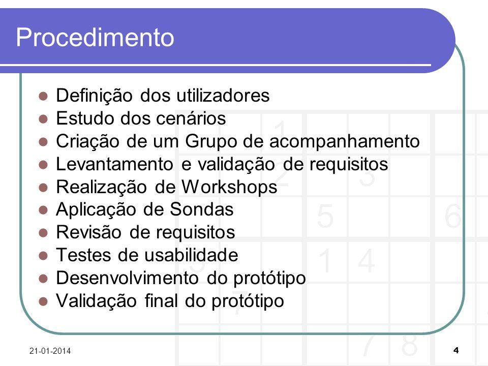 Procedimento Definição dos utilizadores Estudo dos cenários Criação de um Grupo de acompanhamento Levantamento e validação de requisitos Realização de Workshops Aplicação de Sondas Revisão de requisitos Testes de usabilidade Desenvolvimento do protótipo Validação final do protótipo 21-01-2014 4
