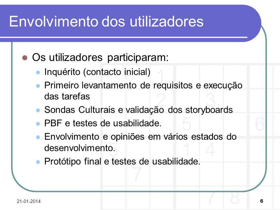 Envolvimento dos utilizadores Os utilizadores participaram: Inquérito (contacto inicial) Primeiro levantamento de requisitos e execução das tarefas Sondas Culturais e validação dos storyboards PBF e testes de usabilidade.