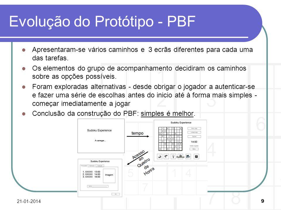 Evolução do Protótipo - PBF Apresentaram-se vários caminhos e 3 ecrãs diferentes para cada uma das tarefas. Os elementos do grupo de acompanhamento de