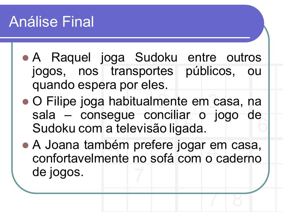 Análise Final A Raquel joga Sudoku entre outros jogos, nos transportes públicos, ou quando espera por eles.