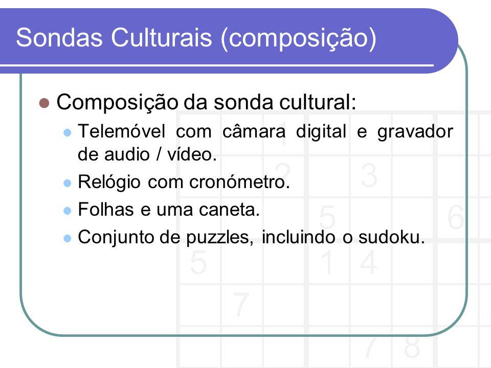 Sondas Culturais (composição) Composição da sonda cultural: Telemóvel com câmara digital e gravador de audio / vídeo.
