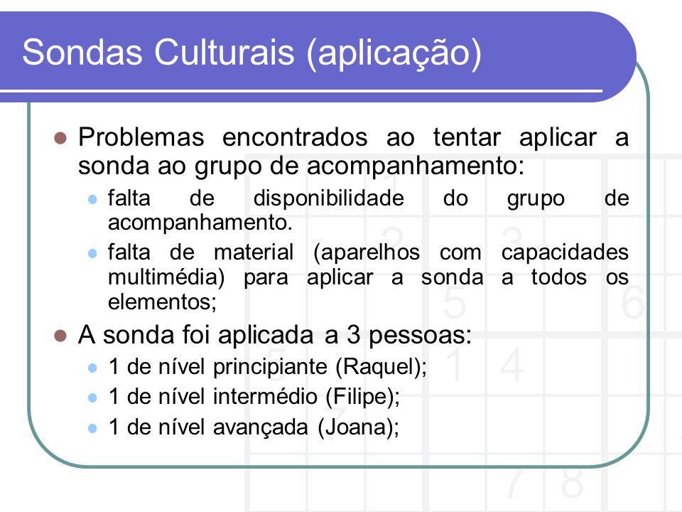 Conclusões Os membros a que foi aplicada a sonda cultural costumam jogar nos transportes públicos ou em casa.