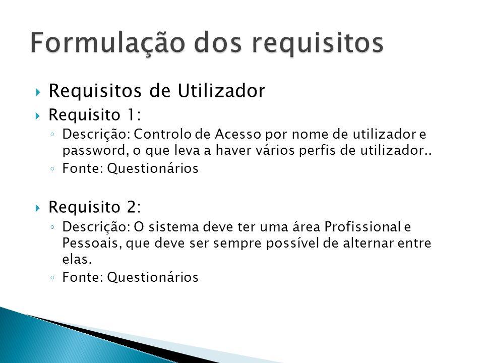 Requisitos de Utilizador Requisito 1: Descrição: Controlo de Acesso por nome de utilizador e password, o que leva a haver vários perfis de utilizador..