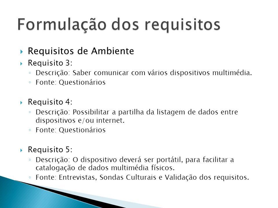 Requisitos de Ambiente Requisito 3: Descrição: Saber comunicar com vários dispositivos multimédia.