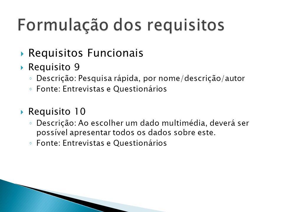Requisitos Funcionais Requisito 9 Descrição: Pesquisa rápida, por nome/descrição/autor Fonte: Entrevistas e Questionários Requisito 10 Descrição: Ao escolher um dado multimédia, deverá ser possível apresentar todos os dados sobre este.