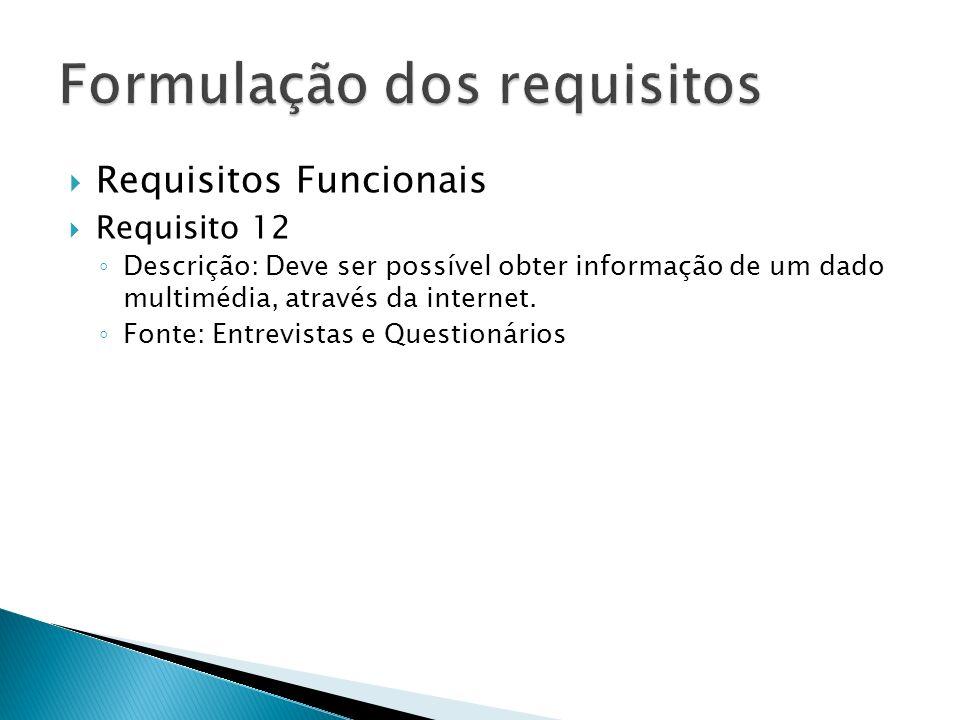 Requisitos Funcionais Requisito 12 Descrição: Deve ser possível obter informação de um dado multimédia, através da internet.
