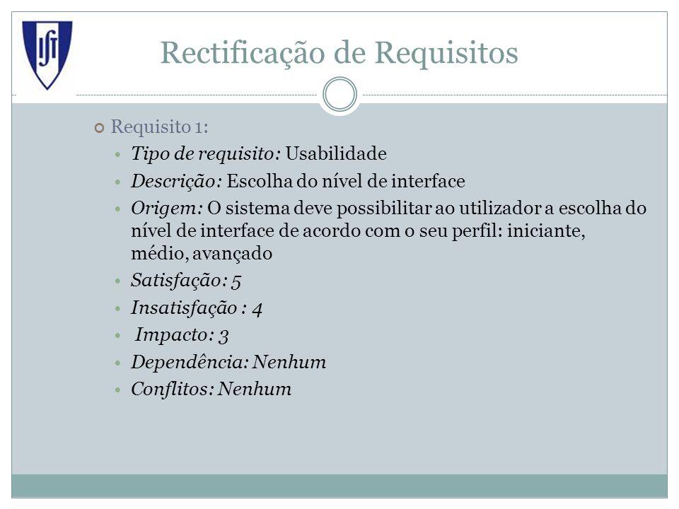 Rectificação de Requisitos Requisito 1: Tipo de requisito: Usabilidade Descrição: Escolha do nível de interface Origem: O sistema deve possibilitar ao utilizador a escolha do nível de interface de acordo com o seu perfil: iniciante, médio, avançado Satisfação: 5 Insatisfação : 4 Impacto: 3 Dependência: Nenhum Conflitos: Nenhum