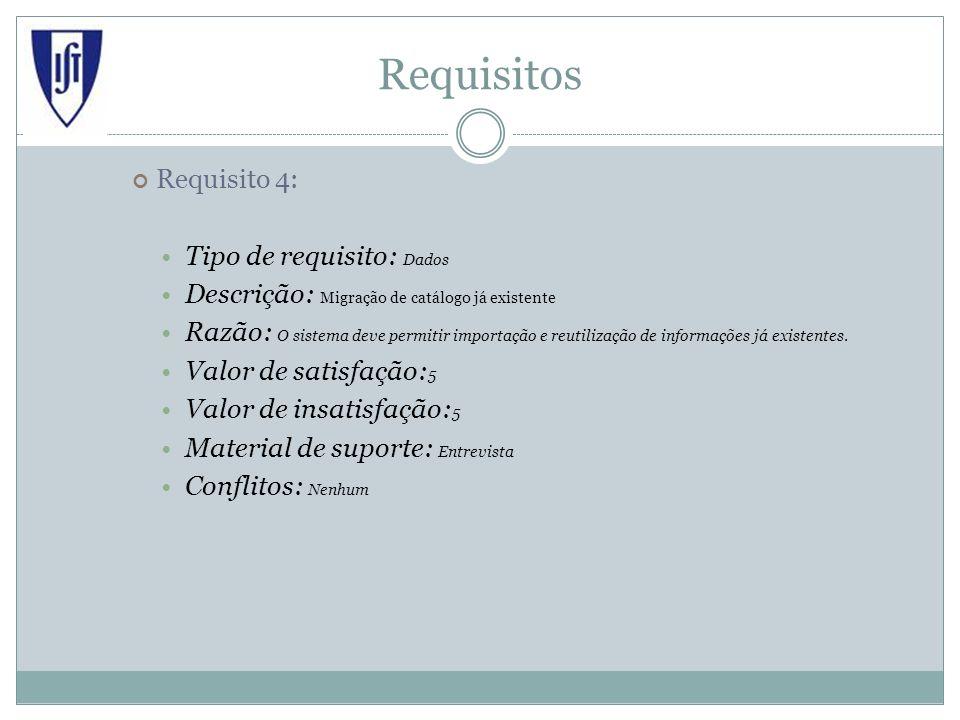 Requisitos Requisito 4: Tipo de requisito: Dados Descrição: Migração de catálogo já existente Razão: O sistema deve permitir importação e reutilização de informações já existentes.