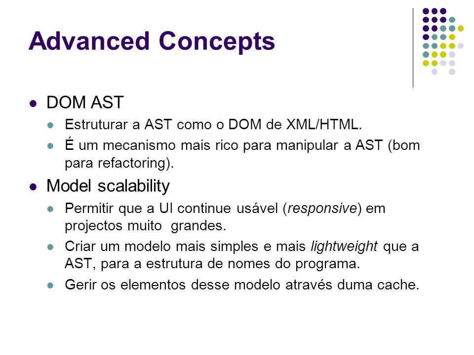 Advanced Concepts DOM AST Estruturar a AST como o DOM de XML/HTML.