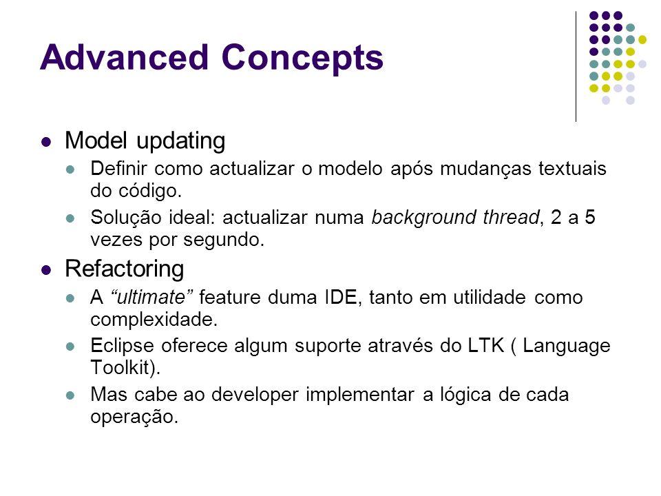 Advanced Concepts Model updating Definir como actualizar o modelo após mudanças textuais do código. Solução ideal: actualizar numa background thread,