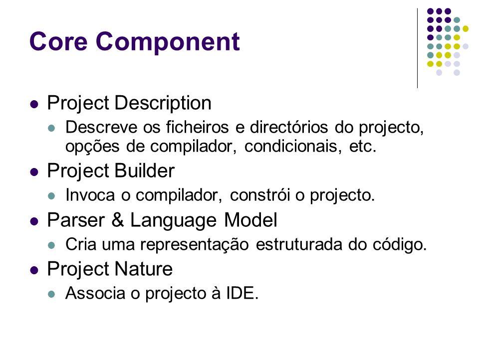 Core Component Project Description Descreve os ficheiros e directórios do projecto, opções de compilador, condicionais, etc.
