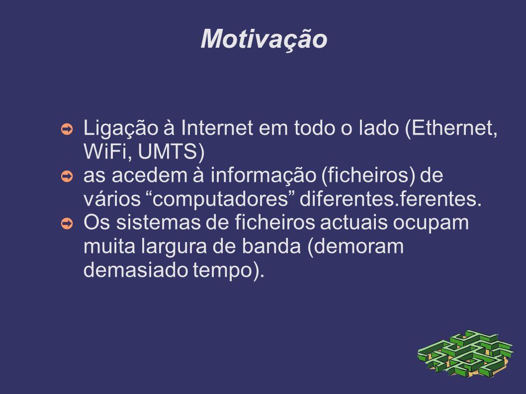 Motivação Ligação à Internet em todo o lado (Ethernet, WiFi, UMTS) as acedem à informação (ficheiros) de vários computadores diferentes.ferentes. Os s