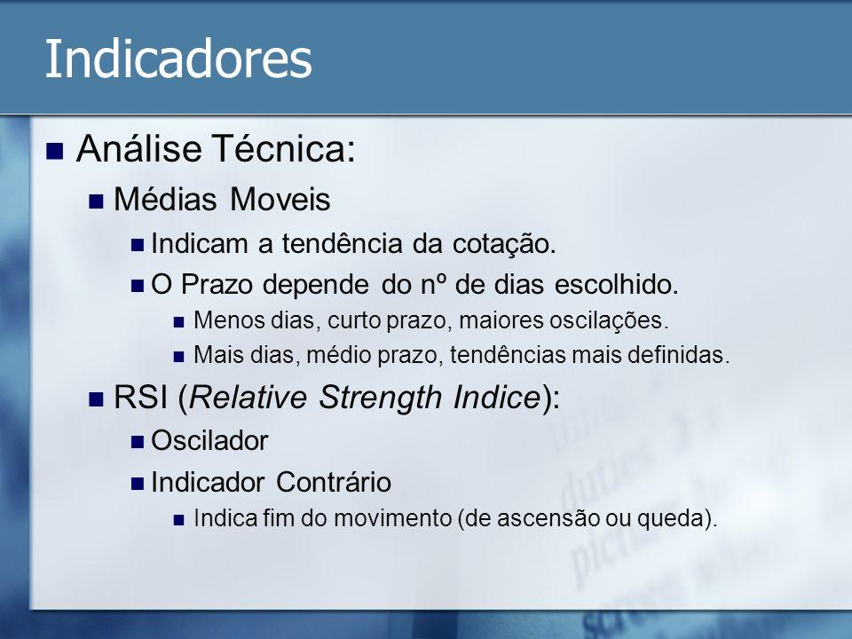 Indicadores Análise Técnica: Médias Moveis Indicam a tendência da cotação. O Prazo depende do nº de dias escolhido. Menos dias, curto prazo, maiores o