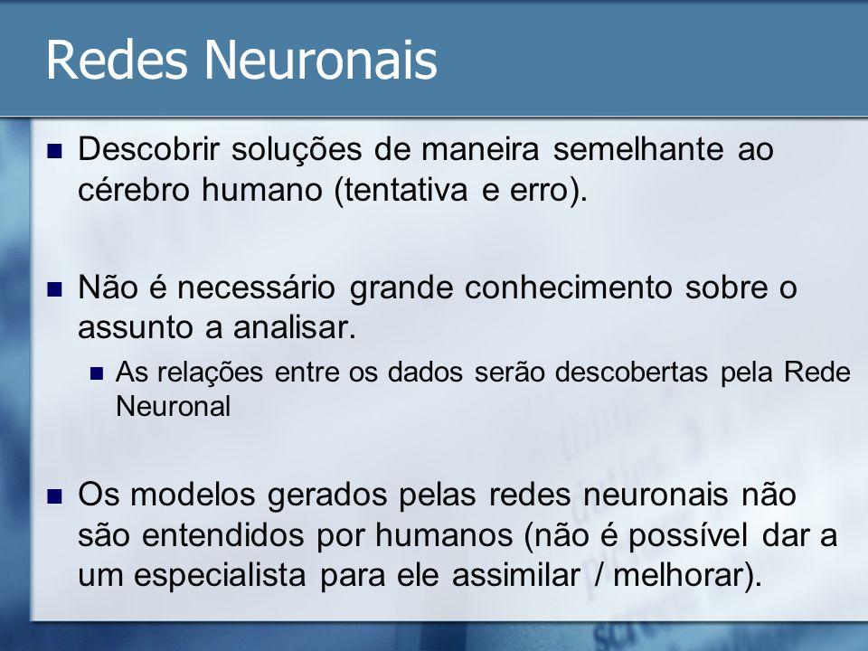 Redes Neuronais Descobrir soluções de maneira semelhante ao cérebro humano (tentativa e erro). Não é necessário grande conhecimento sobre o assunto a
